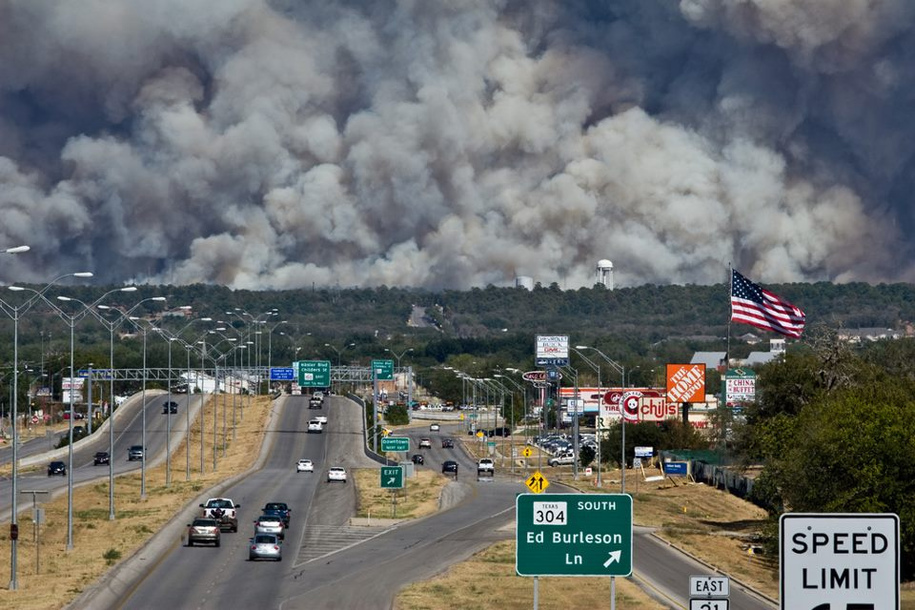 climate change induced wildfires in texas, by Joe Wolff