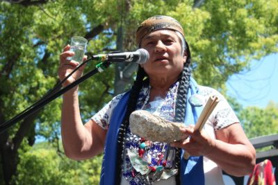 Chief Caleen Sisk at Oil Money Out, People Power In rally in Sacramento on May 20 by Dan Bacher