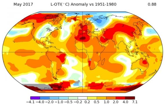 climate change hottest month may 2017