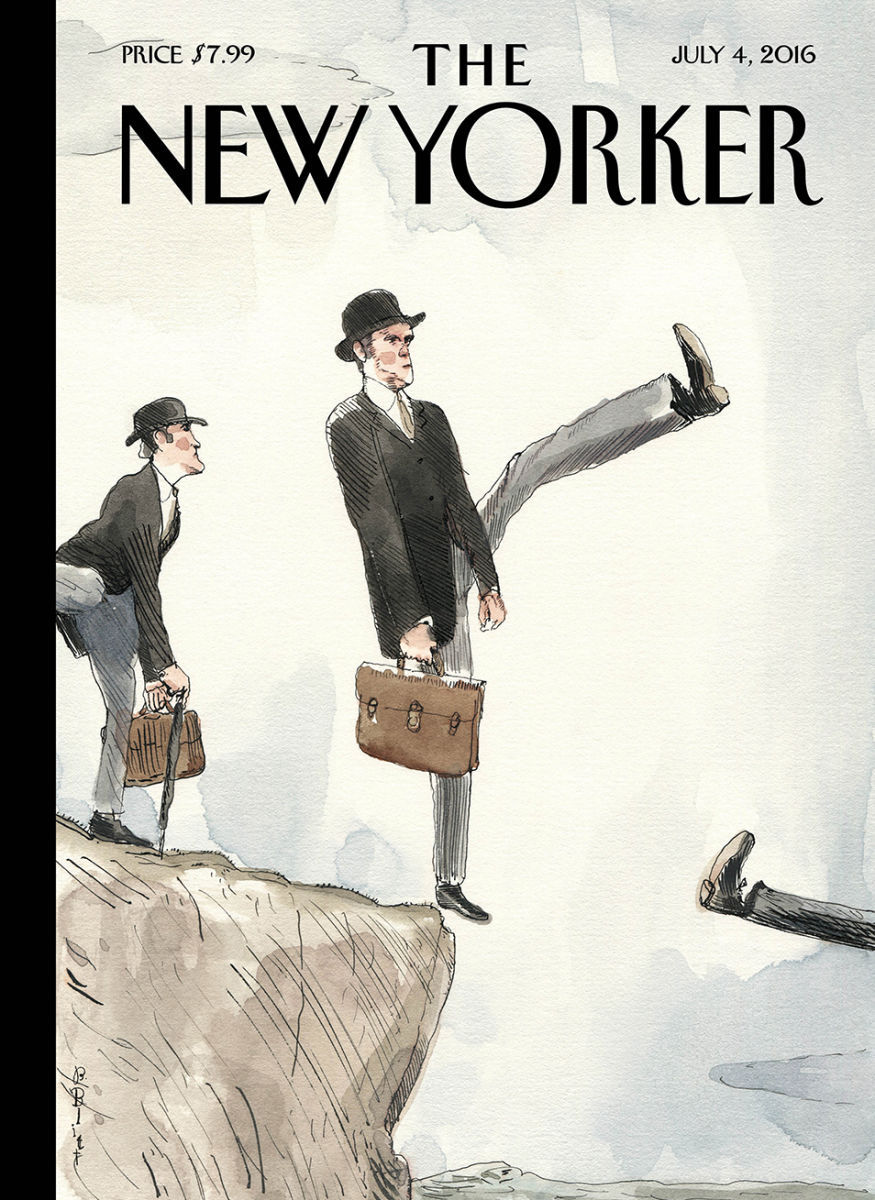 New yorker cover Brexit Britain silly walk off a cliff