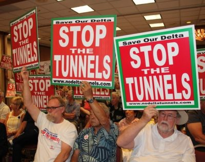 tunnels opponents, including fishermen, conservationists, environmental justice advocates, family farmers, Delta residents and elected officials all opposed the Delta Tunnels