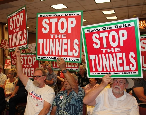 delta tunnels opponents, including fishermen, conservationists, environmental justice advocates, family farmers, Delta residents and elected officials all opposed the Delta Tunnels