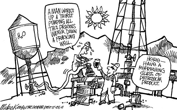 fracking water by mike keefe