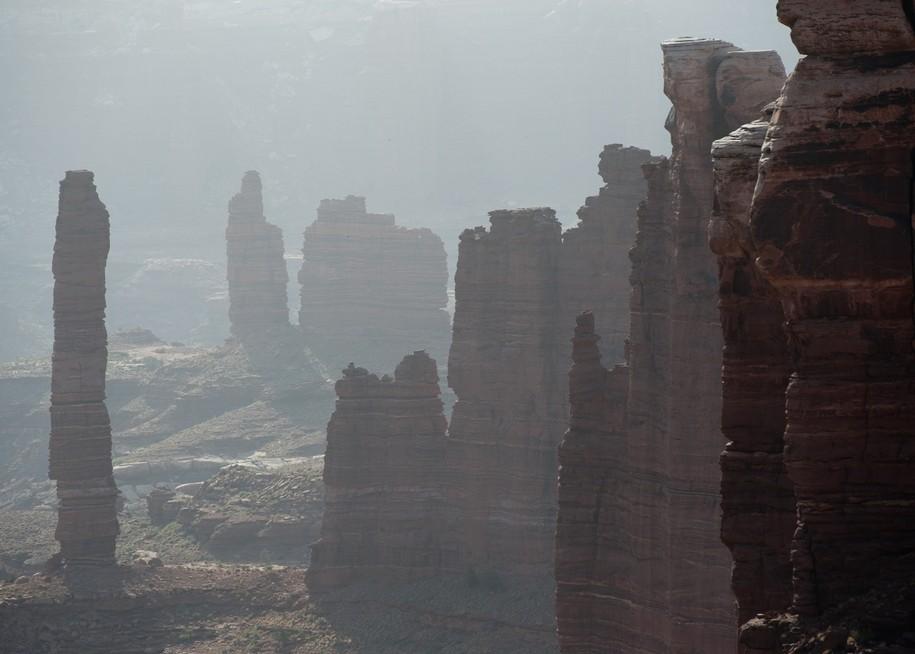 Haze enshrouds Canyonlands National Park's Island in the Sky.