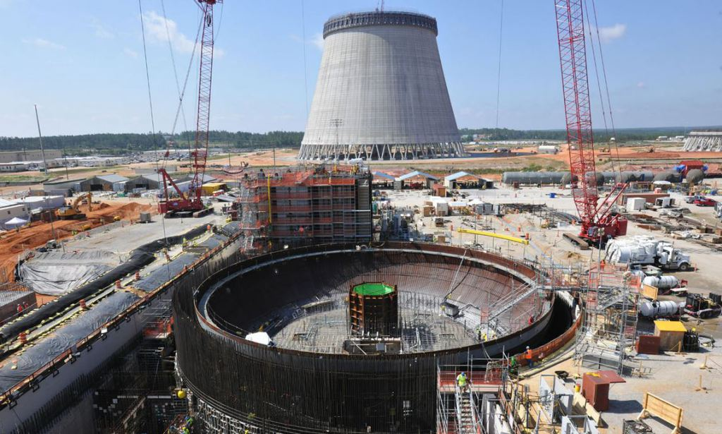 The Vogtle 3 and 4 nuclear reactors in June 2014.