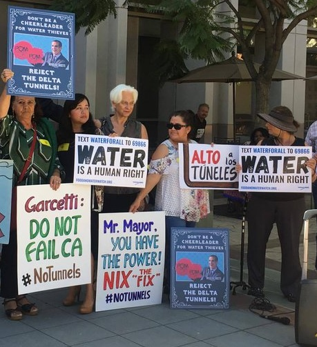Restore the Delta protest against Eric Garcetti - Delta Tunnels