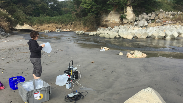 "Virginie Sanial, a scientist at Woods Hole Oceanographic Institution, samples groundwater beneath beaches in Japan. She plunged 3- to 7-foot-long tubes into the sand, pumped up underlying groundwater, and analyzed its cesium-137 content."" Photo by Matt Charette, Woods Hole Oceanographic Institution"