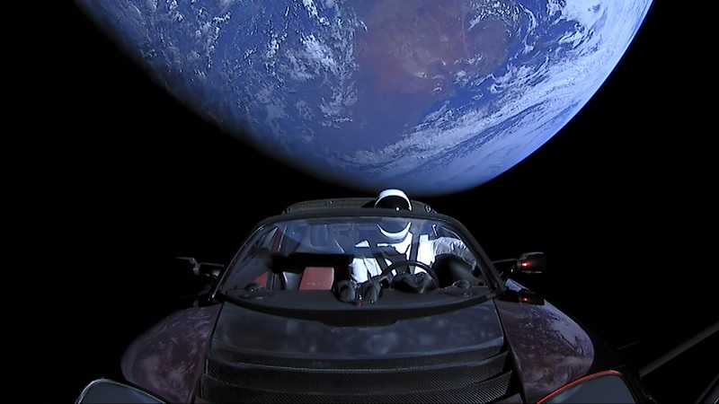 Tesla roadster in orbit