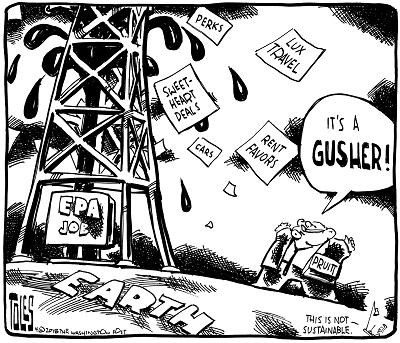 Scott Pruitt EPA oil ethics gusher by Tom Toles