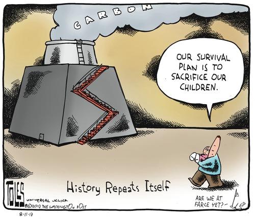 tom toles climate change sacrifice our children