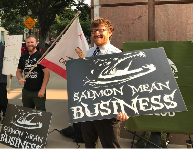 San Juaquin river flows protest photo - salmon mean business - by Dale Kasler on Twitter
