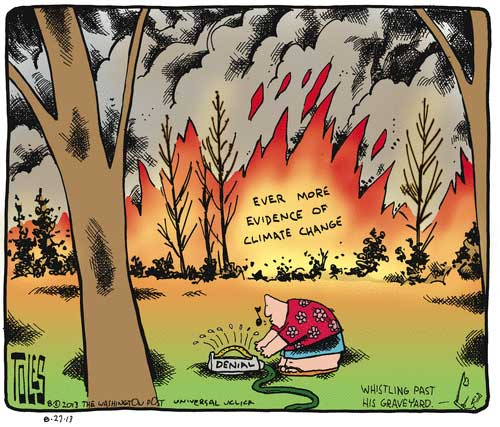 tom toles climate change denial fire