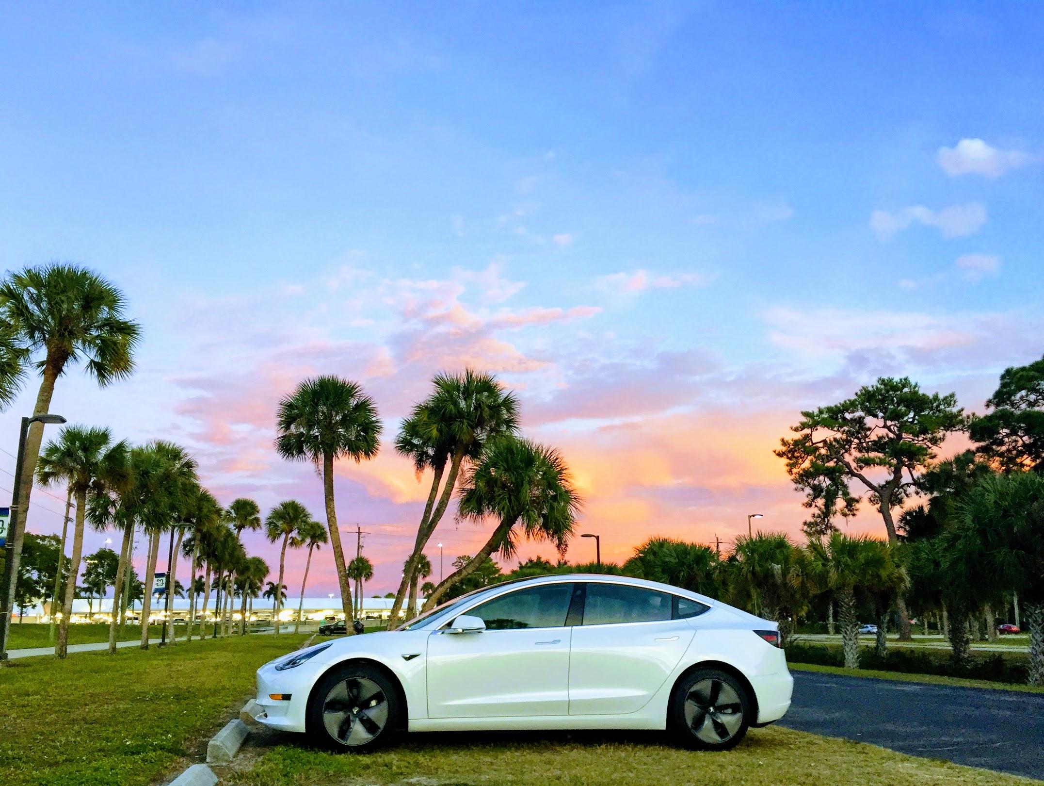 Tesla Model 3 in a Florida sunset