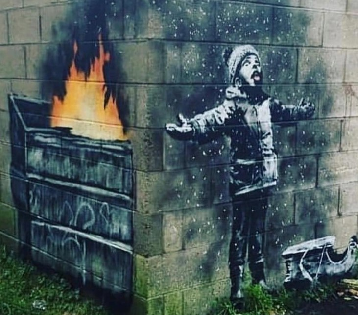 banksy skewers UK pollution in latest art project