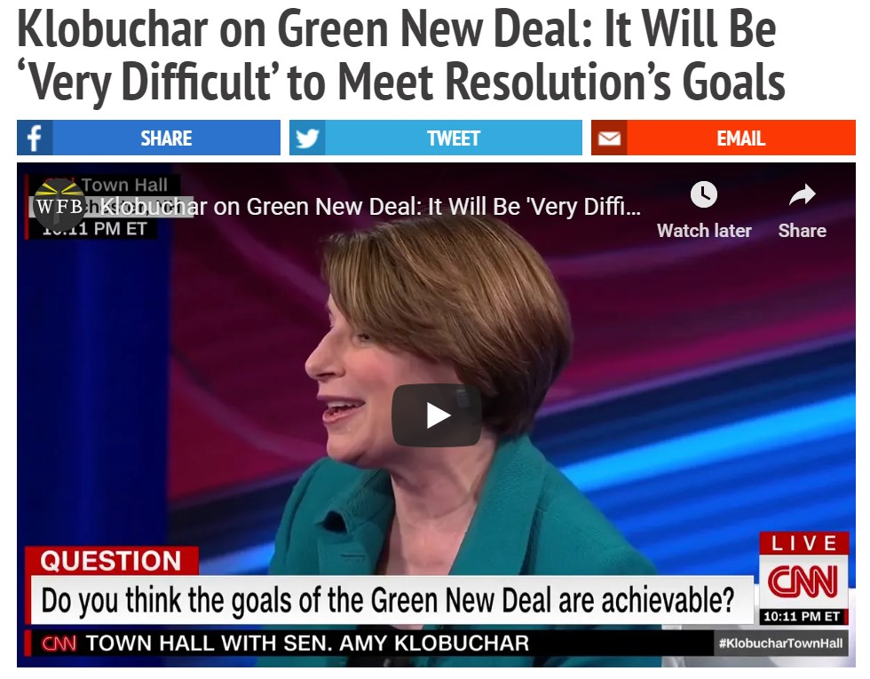 why does Amy Klobuchar have to downplay the Green New Deal