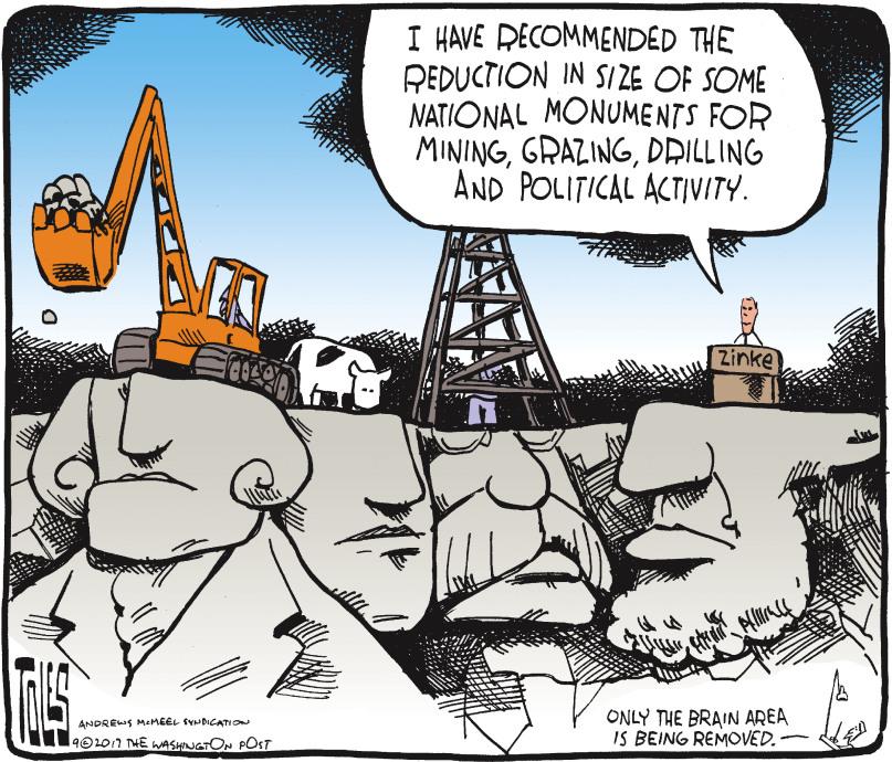 Tom Toles: President Mt Rushmore trump mining