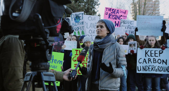 Rebecca Hamilton, pictured here being interviewed by CBC Vancouver, is a CCL volunteer participating in the School Strike for Climate.