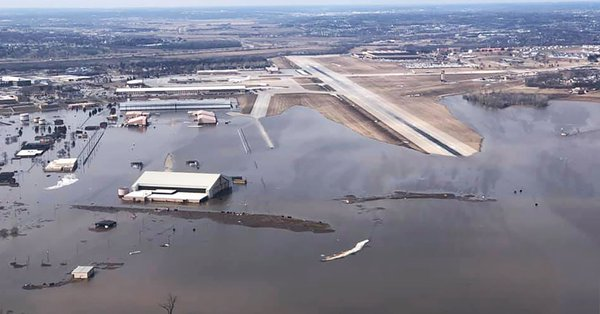 Offut airforce base underwater from climate change enhanced flooding