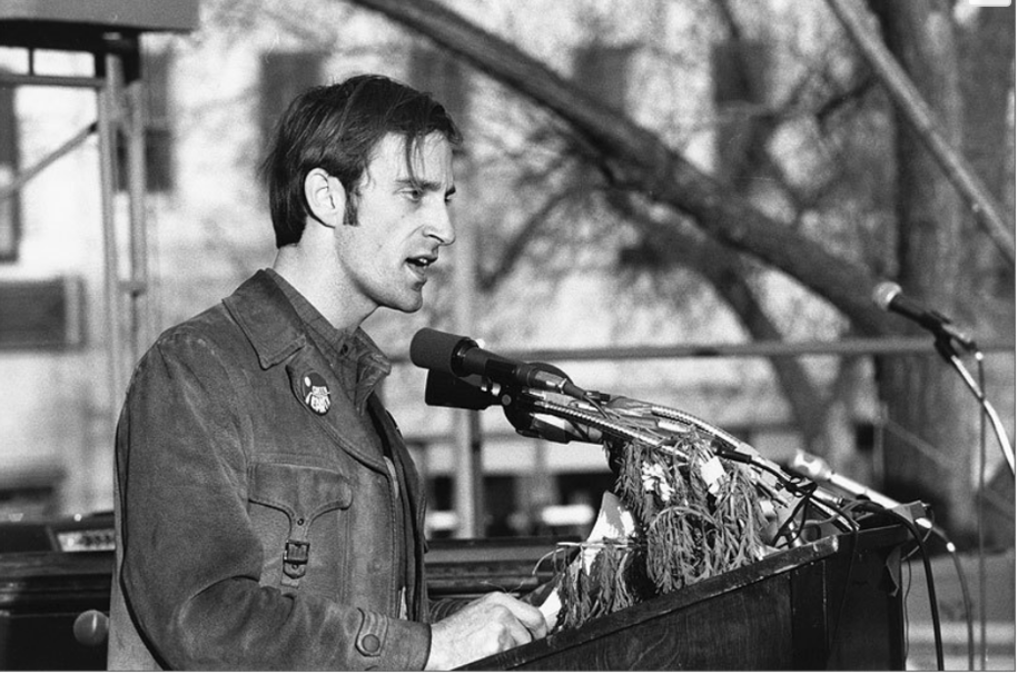 Denis Hayes speaking at the first Earth Day in 1970.