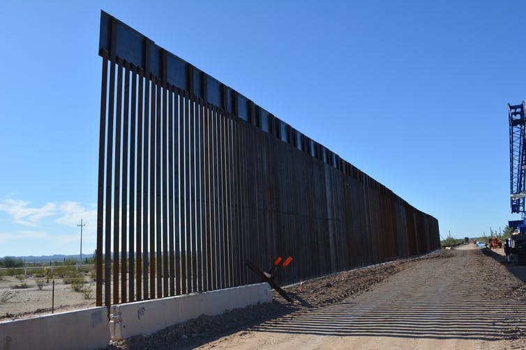 Border wall construction in Organ Pipe Cactus National Monument, photographed in November 2019. Jared Orsi, CC BY-ND