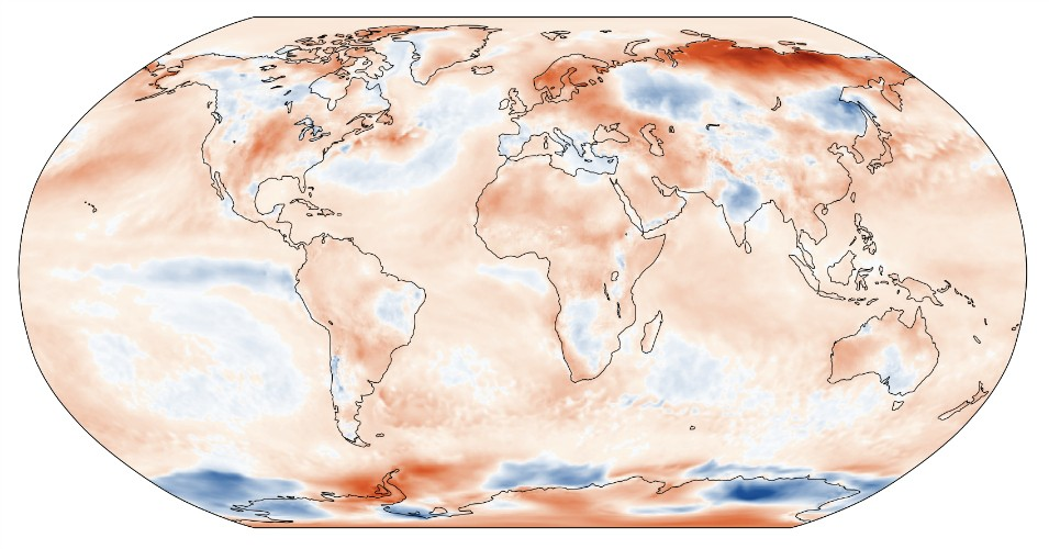 Surface air temperature anomaly for June 2020 relative to the June average for the period 1981–2010. (Image: C3S/ECMWF)