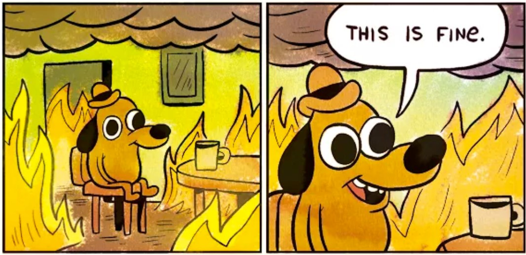 This is Fine Dog climate change meme
