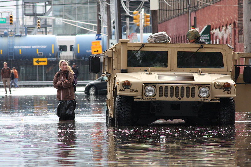 New Jersey National Guard soldiers assist displaced residents of Hoboken after Superstorm Sandy (U.S. Army photo by Spc. Joseph Davis/Released via Flickr)
