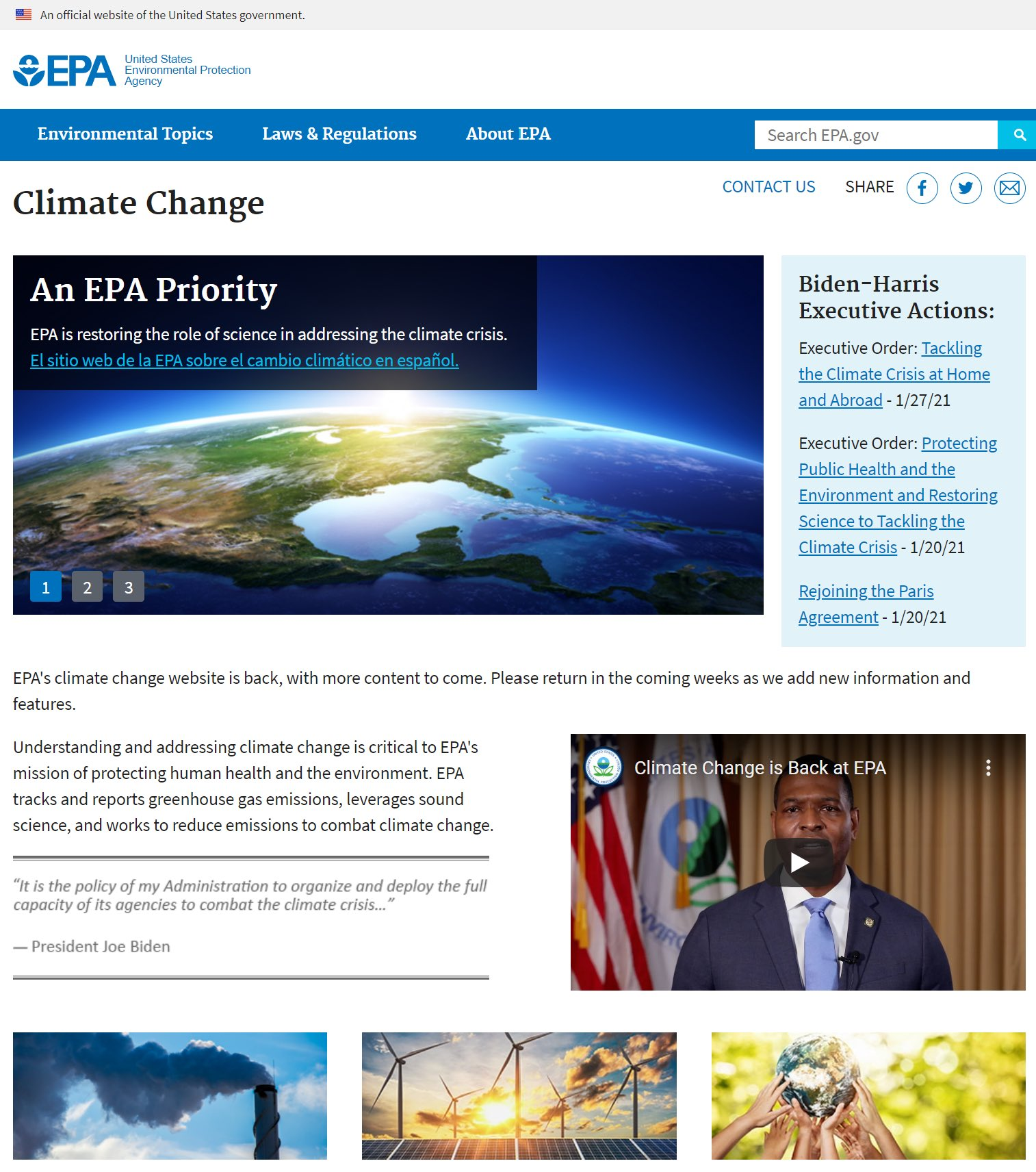 After four bleak years under Trump, Words 'Climate' and 'Science' are back on EPA website