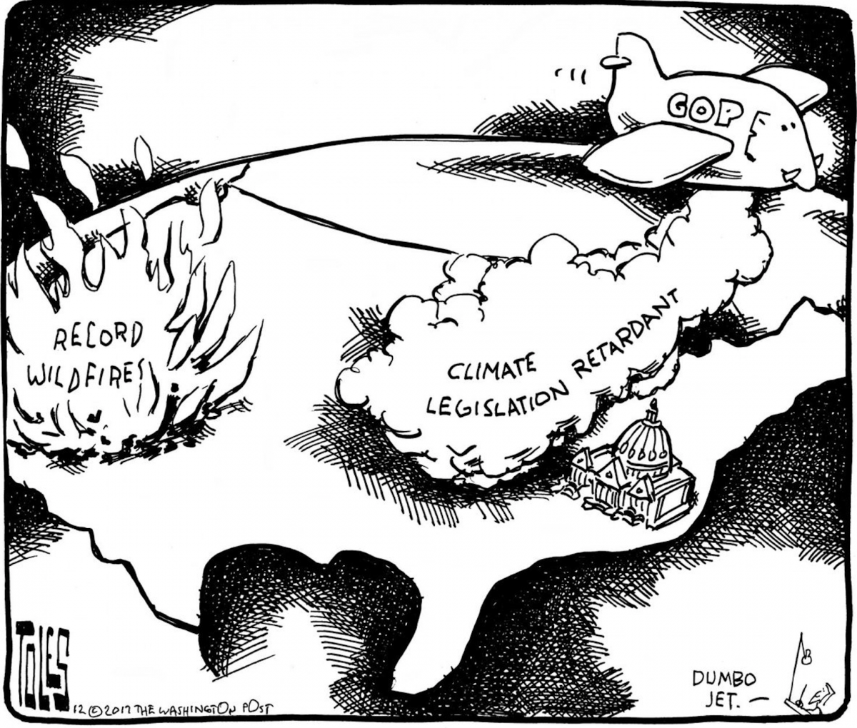 Tom Toles wildfires vs climate change denial