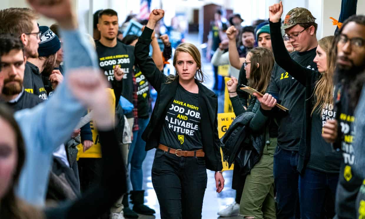 Supporters of Ocasio-Cortez's Green New Deal rally in Washington in December. Photograph: Jim Lo Scalzo/EPA